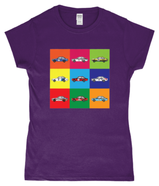 Ford Escort Mk2 Rally Cars T-Shirt in Purple