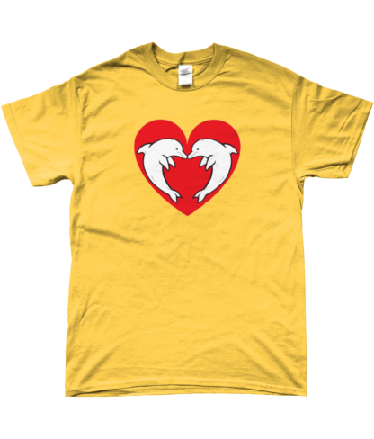 Heart Dolphin T-Shirt in Yellow