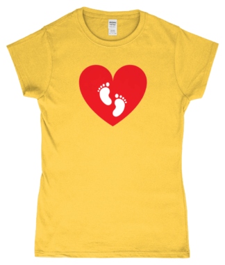 Heart Feet T-Shirt in Yellow