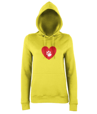 Heart Paw Hoodie in Yellow