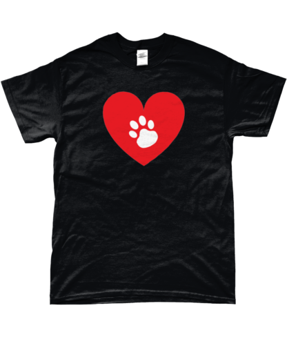 Heart Paw T-Shirt in Black