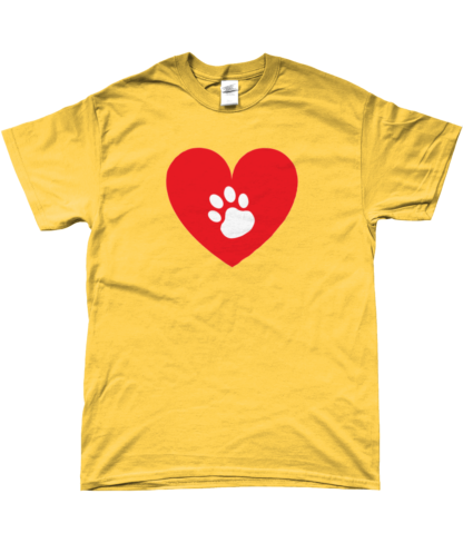 Heart Paw T-Shirt in Yellow