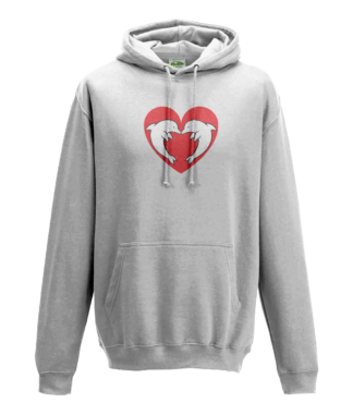 Heart Dolphin Hoodie in White