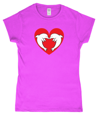 Heart Dolphin T-Shirt in Pink