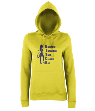 BITCH Hoodie in Yellow
