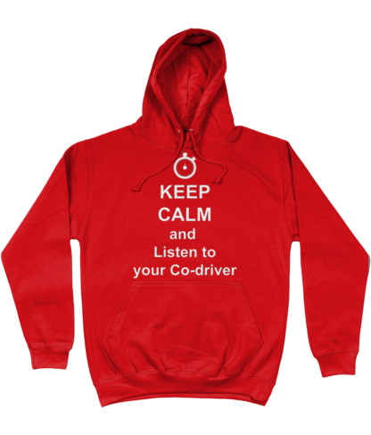 Keep Calm and Listen to your Co-driver Hoodie in Red