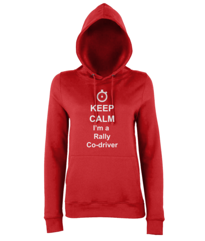 Keep Calm I'm a Rally Co-driver Hoodie in Red