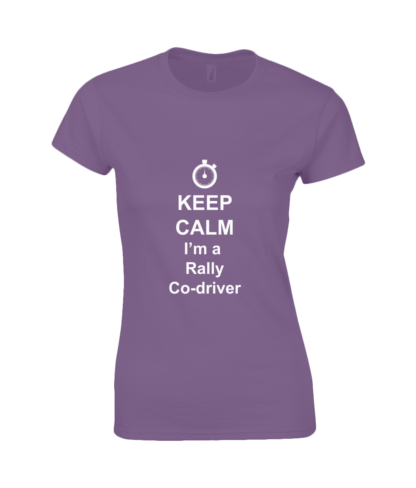 Keep Calm I'm a Rally Co-driver T-Shirt in Purple