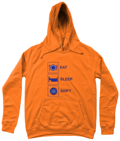 Eat Sleep Shift Hoodie in Orange