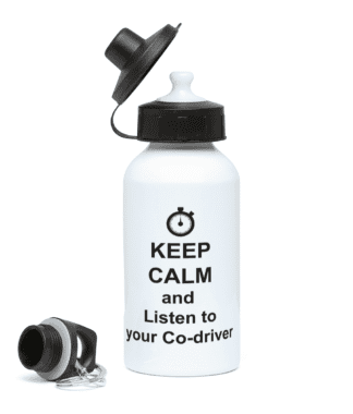 Keep Calm and Listen to your Co-driver Water Bottle