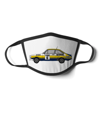 Ford Escort MK2 rally car Rothmans face mask
